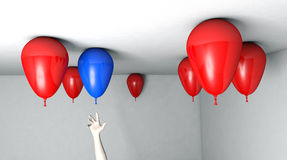 Balloon Reach. Reaching up for a specific balloon Royalty Free Stock Image