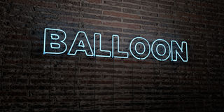 BALLOON -Realistic Neon Sign on Brick Wall background - 3D rendered royalty free stock image Royalty Free Stock Photography