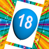 Balloon Represents Eighteenth Happy Birthday Celebrations Royalty Free Stock Image