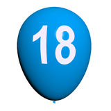18 Balloon Represents Eighteenth Happy Birthday Royalty Free Stock Photos