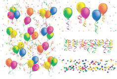 Colorful balloon ribbon confetti pattern set Stock Photos