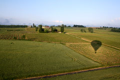 Balloon ride through the fields of France Stock Image