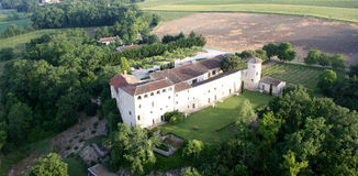 Balloon ride over a chateau in the south of France Stock Photos