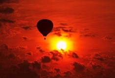 Balloon ride in the sunrise Royalty Free Stock Photography