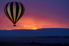 Balloon safari. Hot air balloon safari flight in the magnificent setting of the Great Rift Valley in Kenya Royalty Free Stock Photography