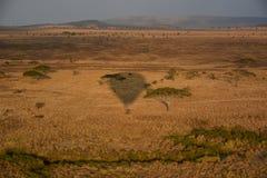 Balloon safari Tanzania silhouette Royalty Free Stock Photography