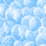 Balloon seamless background, white and blue. Seamless pattern with white balloons on blue background, beautiful illustration for web design. Eps10, contains Stock Photography
