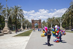 Balloon sellers in Barcelona Royalty Free Stock Photography
