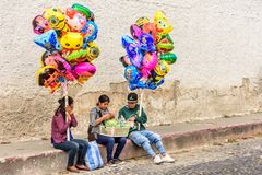 Balloon sellers during Lent, Antigua, Guatemala royalty free stock photography