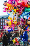 Balloon sellers in Madrid royalty free stock photos