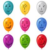 Balloon, set, smilies, eps10. Set of smilies, drawn on balloons with childs hand, symbolising various human emotions. Vector eps10, contains transparencies Stock Image