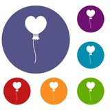 Balloon in the shape of heart icons set. In flat circle red, blue and green color for web Royalty Free Stock Images
