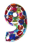 Balloon shape number nine for birthday celebrity Stock Photo