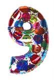 Balloon shape number nine for birthday celebrity stock photo