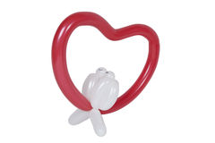 Balloon shaped like heart with love birds. Isolated on white Stock Photography