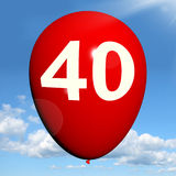 40 Balloon Shows Fortieth Happy Birthday Royalty Free Stock Images