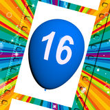 Balloon Shows Sweet Sixteen Birthday Partying Royalty Free Stock Photography