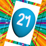 Balloon Shows Twenty-first Happy Birthday Celebrations Stock Images