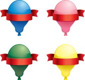 Balloon Signs. A variety of balloons with ribbons wrapped around them Royalty Free Stock Photo