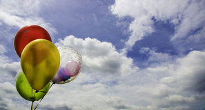 Balloon on sky. Coloful balloon on sky at Congratulations day Stock Image