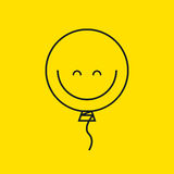 Balloon smiley. Line balloon smiley  on yellow. Icon positive mood. Vector illustration Royalty Free Stock Photos