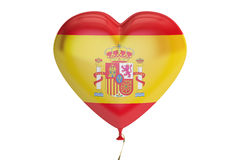 Balloon with Spain flag in the shape of heart, 3D rendering Stock Photos
