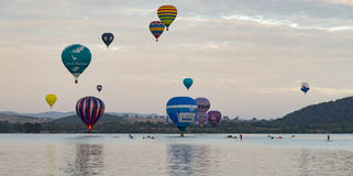 Balloon Spectacle, Balloons flying over Lake Burley Griffin, MARCH 12TH 2017 CANBERRA.AUSTRALIA. Stock Photography