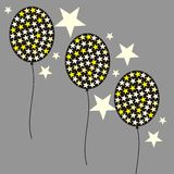 Balloon and stars. Illustration of three balloons and stars on gray background Royalty Free Illustration