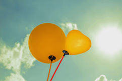 Balloon and sunligh and blue sky Royalty Free Stock Photos