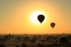 Balloon. Sunrise in Bagan Myanmar royalty free stock photos