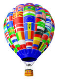 Balloon a symbol of globalization. With flags of the countries of the states of the world isolated on a white background in 3d royalty free illustration