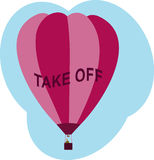 Balloon Take Off. Hot air balloon with text 'TAKE OFF' on it Stock Images