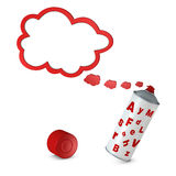 Balloon text - spray. Balloon text that goes out from a spray can (3d render stock illustration