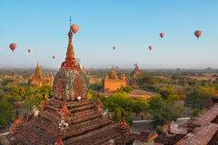 Balloon travel in Bagan, Myanmar. After sunrise in Bagan, Balloon travel start at 7.00 am to sight seeing Royalty Free Stock Photography