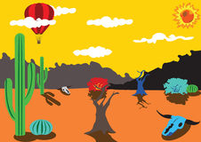 Balloon trip around desert Royalty Free Stock Image