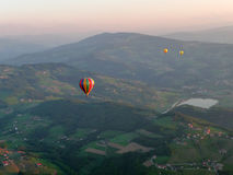 A balloon trip in the dawn Stock Photos