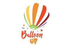 Balloon up logo. Logo design of air balloon with cheer and fun feelings Stock Photos