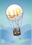 Balloon up. Speech ballon flying as a aerostatic ballon Royalty Free Stock Image
