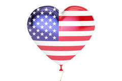 Balloon with USA flag in the shape of heart, 3D rendering. Balloon with USA flag in the shape of heart Stock Image