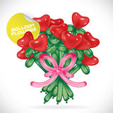 Balloon Valentines Day Flowers Illustration. Vector Balloon Glossy Valentines Day Flowers Illustration With Hearts Stock Photo