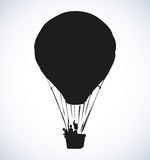Balloon. Vector drawing. Big old airy montgolfier with people in gondola soar up on sail in cloud  on white background. Black ink hand drawn object sketch in Stock Photography