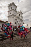 Balloon vendors in Giron Colombia. July 23, 2017 Giron, Santander: balloon vendors in the historic town centre in the front of the cathedral on a Sunday Stock Photo