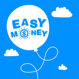 Balloon with the words easy money. In the sky Stock Images