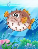 Balloonfish with bubbles. Color illustration stock illustration