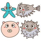 Balloonfish cute. Illustration balloon fish friend cute  white color background graphic element Stock Image