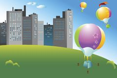 BALLOONING. Colorful hot air balloons flying over the city Stock Photo