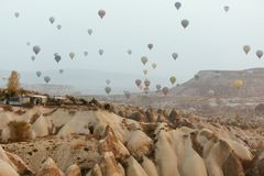 Ballooning At Cappadocia. Colorful Hot Air Balloons In Sky. Nature Landscape With Flying Balloons. High Resolution royalty free stock image