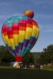 Ballooning. Greenfield MA : Hot Air balloons prepped and launched at the balloon festival on July 21 2016 in Greenfield MA Royalty Free Stock Photos