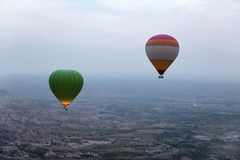 Ballooning In Nature. Hot Air Balloons Flying Above Valley. Travel In Colorful Balloons At Cappadocia. High Resolution stock image
