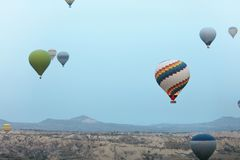 Ballooning In Nature. Hot Air Balloons Flying Above Valley. Travel In Colorful Balloons At Cappadocia. High Resolution royalty free stock images